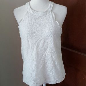 MONTEAU sleeveless high neck lace top
